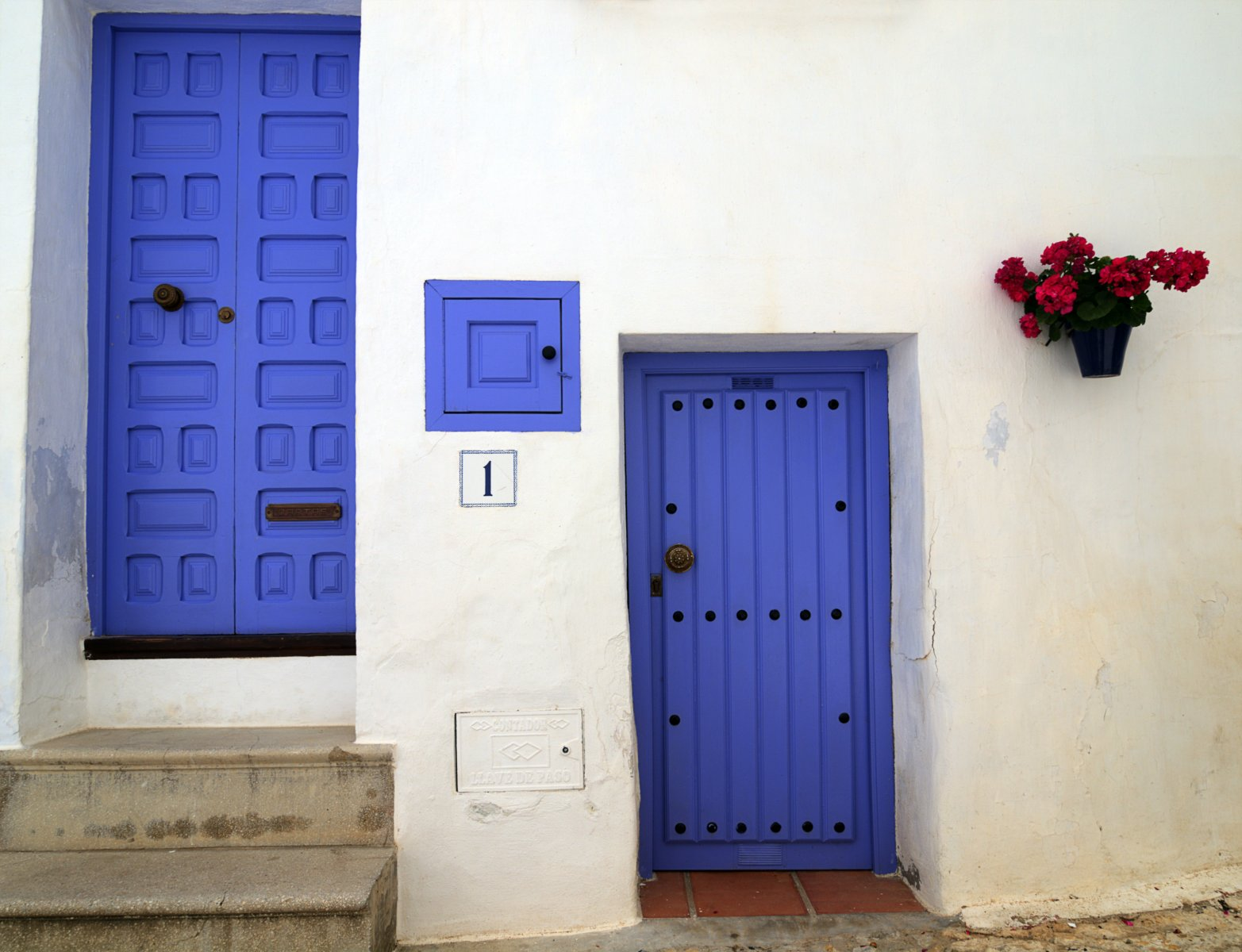 Blue Doors in the town of Frigiliana, Andalucia