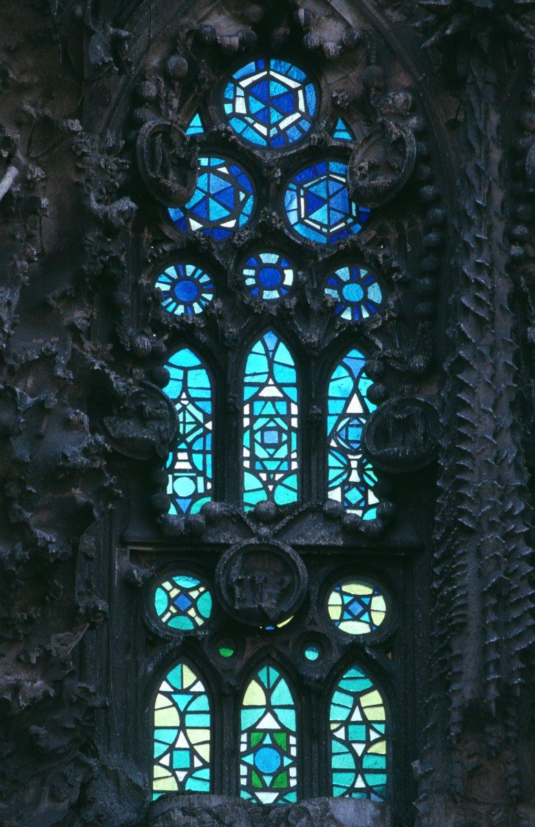 Stained Glass Window, Sagrada Familia, Barcelona, Spain